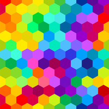 Colorful Bright Hexagons. Seamless Pattern, Abstract Geometric Background. Vector Illustration