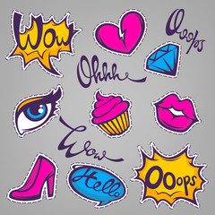 vector collection of fashionable patch badges with lips, hearts,