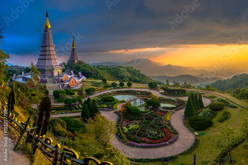 Poster Bangkok Landmark unseen thailand pagoda in Inthanon national park Thailand