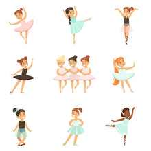 Little Girls Dancing Ballet In...