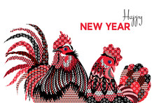 Happy New Year Card With Roost...