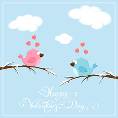Valentines background with birds and hearts