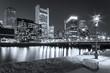 Boston in Massachusetts, USA at night.