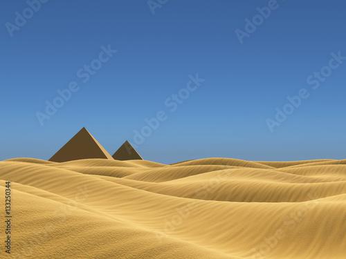 In de dag Egypte Low poly landscape desert 3d illustration