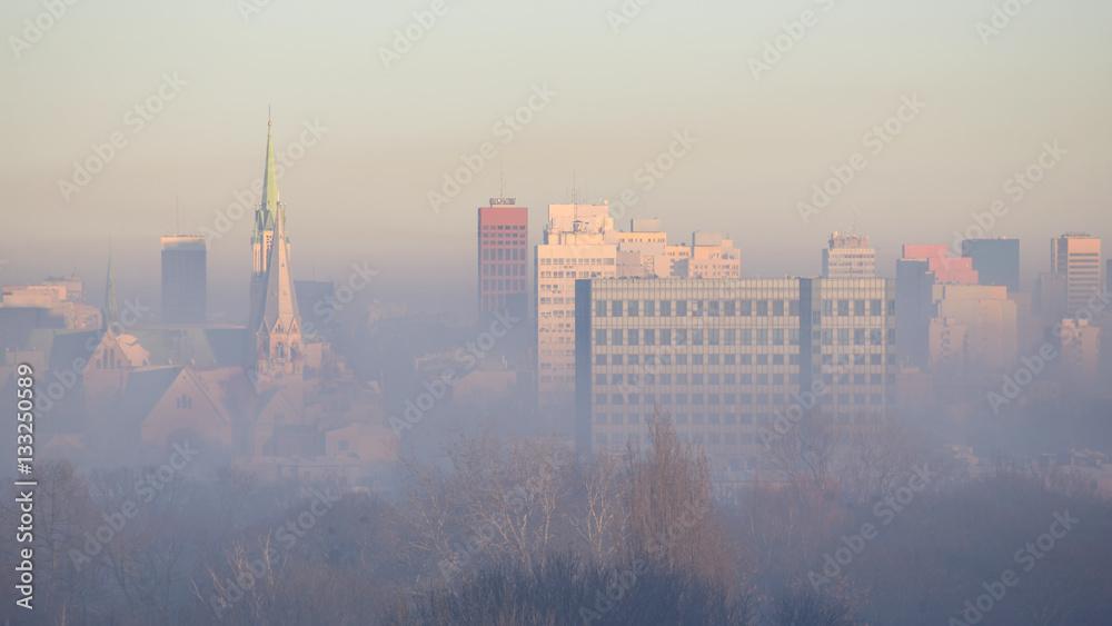 Fototapety, obrazy: Łódź w smogu, Polska