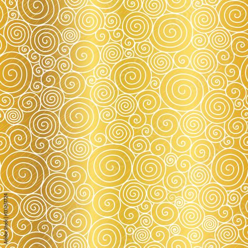 Vector Golden Abstract Swirls Seamless Pattern Background