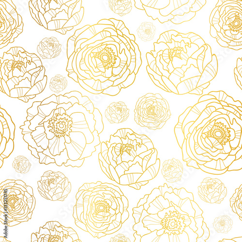 Vector Golden On White Peony Flowers Summer Seamless Pattern