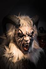 Traditional Krampus Beast-like Mask From Alpine Region.