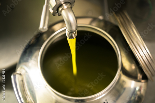 Processing of olive oil in a modern farm.