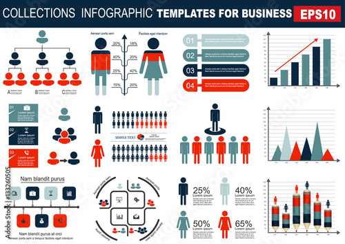 Photo  Collection of infographic people  elements for business.Vector i