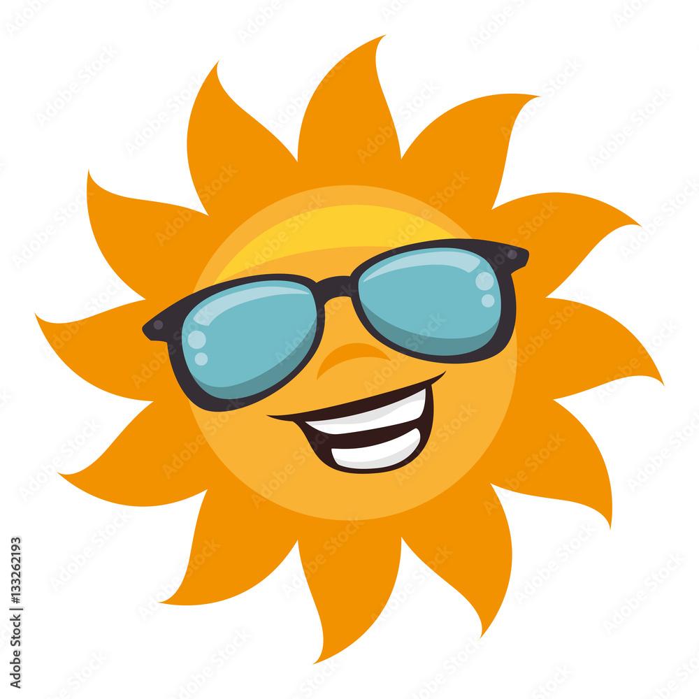 Fototapeta sun with sunglass character vector illustration design