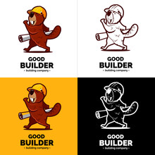 Beaver Character With Paper Plan On Hand. Color And Black White