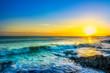 sunrise on the coast of Ireland, Portmarnock. Toned image