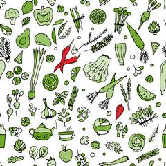 FototapetaGreen vegetables, detox. Seamless pattern design