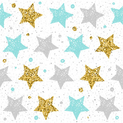 Fototapeta Doodle star seamless background. Grey, blue and gold star