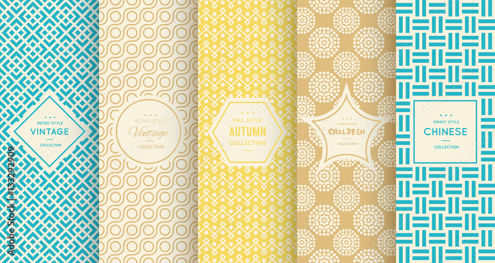 Fototapety, obrazy: Retro different vector seamless patterns