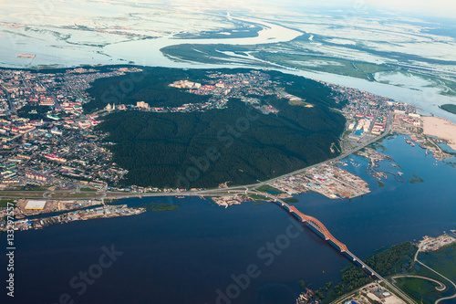 Fotografiet Khanty-Mansiysk city, top view