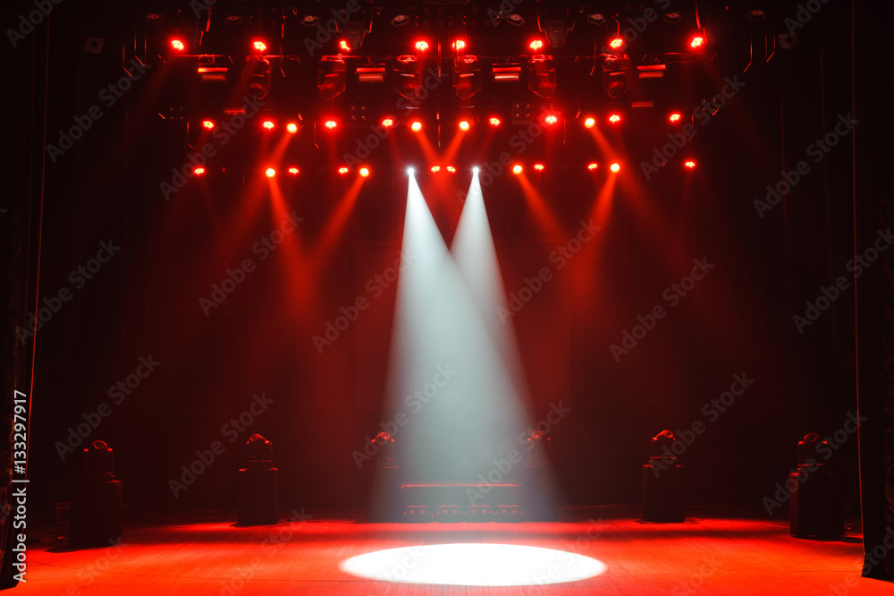 Fototapeta Free stage with lights, lighting devices.