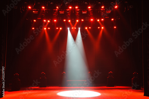 Obraz Free stage with lights, lighting devices. - fototapety do salonu