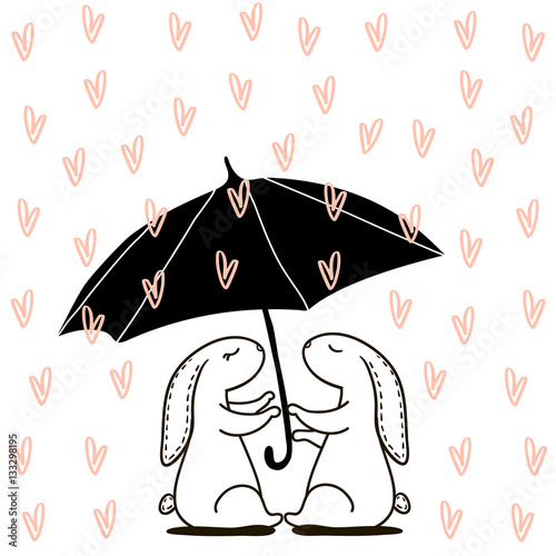 Cute hand drawn Rabbit under love rain. Background for wedding, save the date, Valentine's Day, etc. Vector Illustration