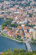 Aerial view of Lecco city and Lake Como, Italy