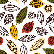 Seamless Pattern With Fruits And Cocoa Leaves. Background For Packaging Chocolate Drink And Chocolate. Hand Drawn. Vector Illustration.