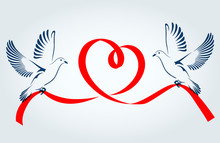 Two Doves Flying With A Red Ri...