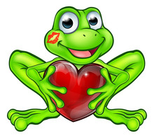 Cartoon Frog With Kiss And Lov...