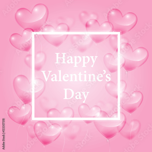 Realistic Transparent Hearts And Happy Valentines Day Greetings On