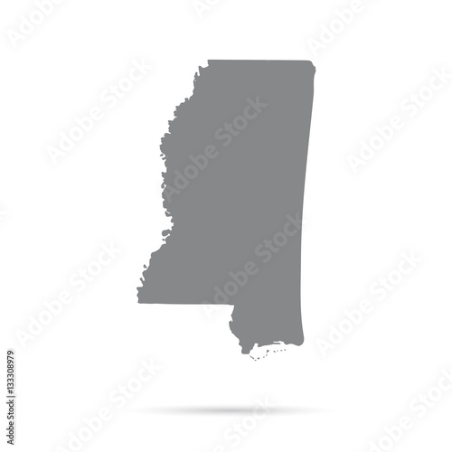 Fotografía  Map of the U.S. state of Mississippi on a white background
