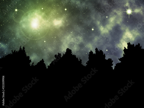Photo  Surreal Bright Night - Background with blank copy space for Text or Advertising
