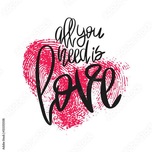 Photo  Romantic poster with hand lettering and heart.