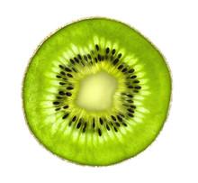 Beautiful Slice Of Fresh Juicy Kiwi Isolated On White Background