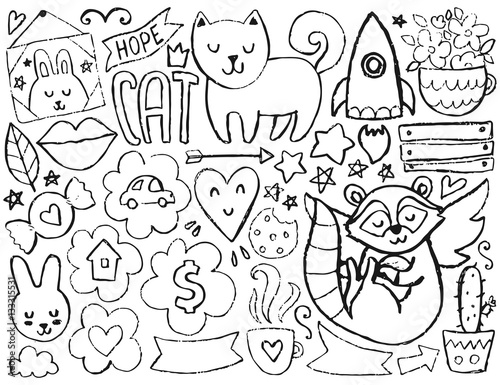 Sketch cute elements Wallpaper Mural