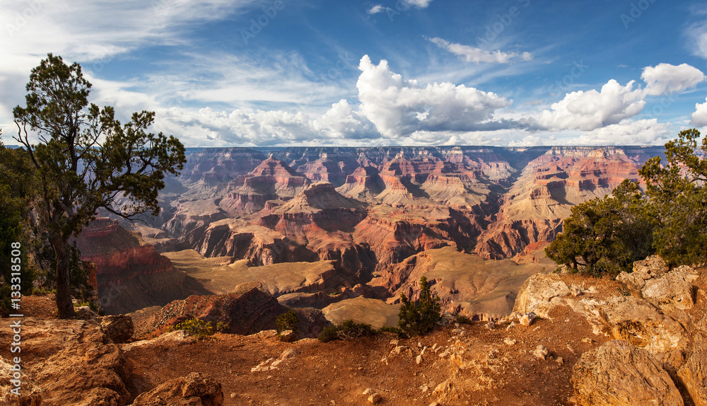 Scenic view Grand Canyon National Park, Arizona, USA. Panorama landscape sunny day with blue sky