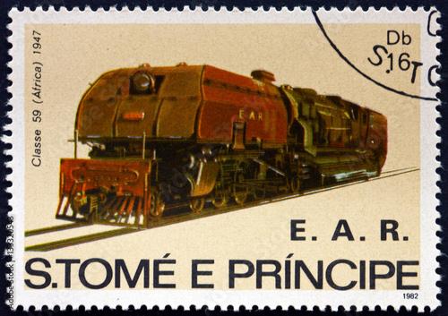 Fotografie, Obraz  Postage stamp Sao Tome and Principe 1982 Locomotive Class 59, Af