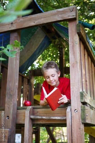 Fotografie, Tablou  Boy in tree fort