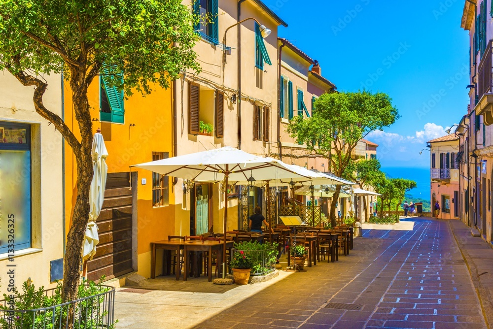 Street of Capoliveri village in Elba island, Tuscany, Italy, Europe.