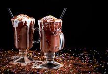 Hot Chocolate Ice Cream Float Dessert In A Big Cup