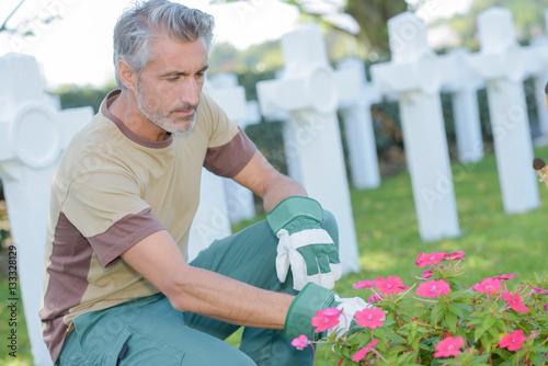 Keuken foto achterwand Begraafplaats Man tending flowers in graveyard