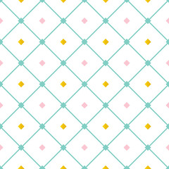 FototapetaCute pink, mint green and gold seamless pattern background with diamond shape elements and diagonal lines.