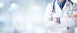 Leinwanddruck Bild - Doctor Man With Stethoscope In Hospital