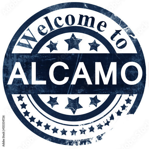 Alcamo stamp on white background Canvas Print