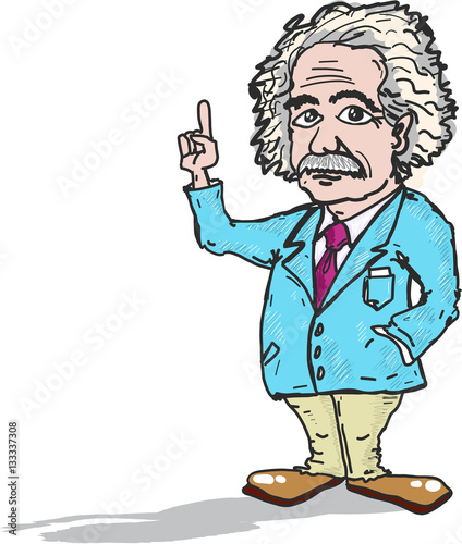 Photo  Professor Einstein cartoon caricature vector illustration