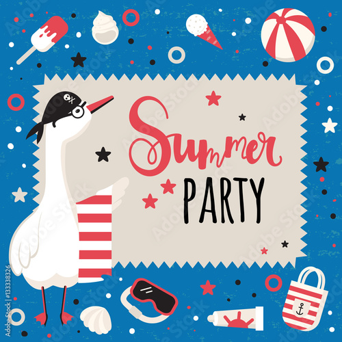 Fototapety, obrazy: Summer party background with cheerful goose and elements