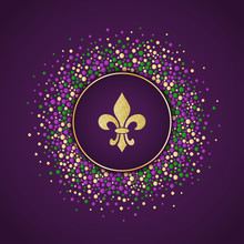 Mardi Gras Holiday Background. Round Dotted Frame With Golden Glitter Fleur De Lis. Vector Template Suitable For Greeting Cards, Invitations, Posters, Prints. EPS10.