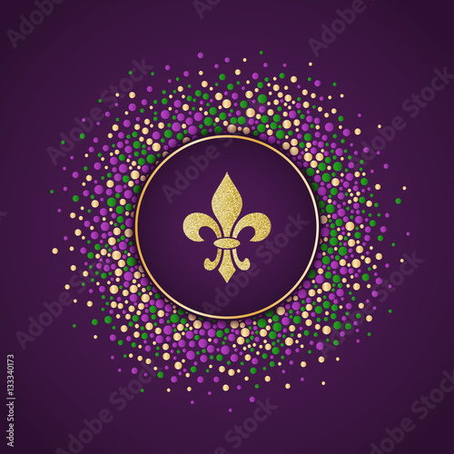 mardi gras holiday background round dotted frame with golden
