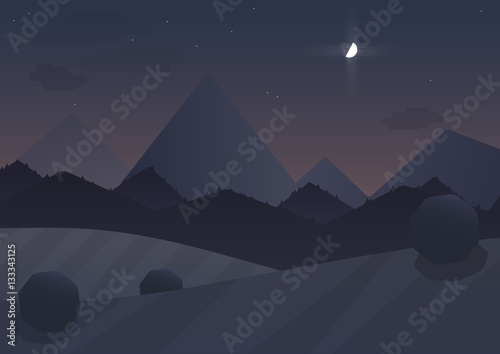 Spoed Foto op Canvas Nachtblauw Night cartoon Mountain Landscape Background with trees and moon. Vector illustration.