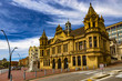 Republic of South Africa. Port Elizabeth. The Public Library built in the late Victorian style, marble statue of queen Victoria and the Market Square