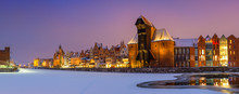 Panoramic View Of Frozen Motlawa River In Old Town Of Gdansk. Poland. Europe.